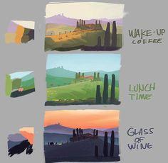 22 Ideas for concept art environment tutorial illustrations Digital Painting Tutorials, Digital Art Tutorial, Art Tutorials, Environment Concept Art, Environment Design, Color Studies, Art Studies, Concept Art Tutorial, Environmental Art