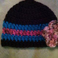 Multi-colored crochet cap