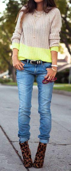 Leopard Booties, Color Block Sweater & Skinny Jeans ♥