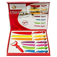 """LOVE OUR COLOR KNIFE SET OR WE'LL SEND YOUR MONEY RIGHT BACK -->Imagine reaching in your drawer for the perfect knife, every time. Super easy to use and clean. Give it a try, decide later. Hurry, supply is limited. You'll wish you had these years ago. DON'T BUY A KITCHEN KNIFE SET ONLINE OR IN A STORE BEFORE READING THIS --> Other knife sets aren't true stainless steel & don't have everything you need. Ours: 8"""" Chef, 8"""" Bread, 8"""" Carving, 5"""" Utility, 4.5"""" Pizza, 4.5"""" Cheese, 3.5"""" Paring…"""