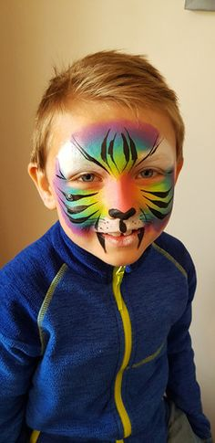 Rainbow tiger face paint boys Rainbow Face Paint, Tiger Face Paints, Festival Looks, This Is Us, Sparkle, Boys, Painting, Baby Boys, Festival Style
