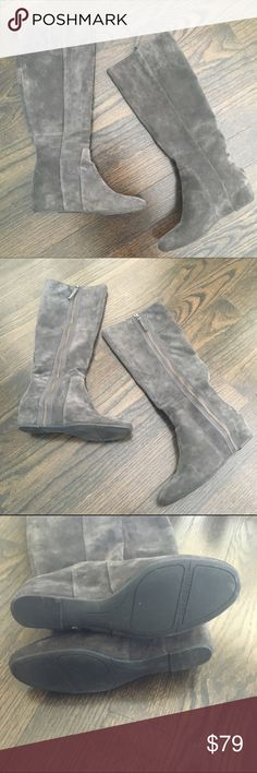 Nine West Gray Suede Wedge Boots Nine West Maleficent boots. Genuine suede. 3 inch wedge heel. 15 inch shaft and 15 inch circumference. Inside side zip. These are so comfy. Only worn once. Minor wear on the bottoms, but they are in otherwise perfect condition! Size 7.5. Nine West Shoes Heeled Boots