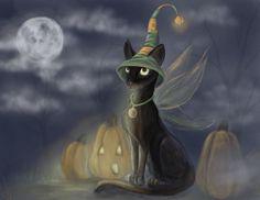 Halloween cat gothic pumpkin fantasy fairy art print. $15.00, via Etsy.