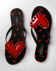Black and red Iron Fist Rip My Heart Flip Flops - on punk.com    These are adorable!