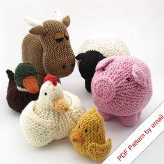 "Knitting Patterns eBook. Farm Animal Toys. ""Around the Barnyard"". $15.00"