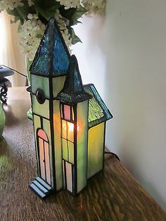 Genuine Stained Glass Church Figurine Lamp Light | eBay