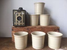 Set of cups/cream/minimalistic/wabisabi/jungalow/ earthy /stoneware/ by WifinpoofVintage on Etsy Earth Tones, Open Shelving, Scandinavian Design, Minimalist Design, Earthy, Stoneware, Coffee Cups, My Etsy Shop, Pottery
