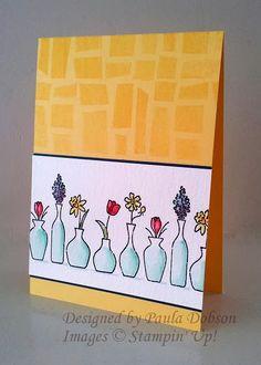 Paula Dobson, Stampinantics:  Stampin' Up! Vivid Vases; watercolor; home-made mosaic background stamp