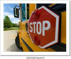 Wide angle view of schol bus stop sign on sunny day. Free art print of School bus stop sign. School Bus Clipart, Bus Stop Sign, Rv Bus, Free Art Prints, Wide Angle, Classroom Decor, Sunny Days, Illustration Art, Clip Art