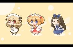 Touhou Project-- Luna Child, Sunny Milk & Star Sapphire; Three Mischievous Fairies - love playing pranks on people and are known for their teamwork, even if it is sometimes haphazard. Because they each possess a different power, they are able to combine their talents to do what they could not achieve on their own. However, they often fail regardless. Star Sapphire is smart enough to let the other two take the fall for their pranks though while she escapes. Pranks On People, Take The Fall, Fairy Wallpaper, Star Sapphire, Image Boards, Teamwork, Mythology, Fairies, Sunnies