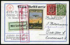 21 Airmail # On post card with vignette of Gorlitz addressed to DRESDEN. Very Fine. German Stamps, Post Card, Airmail, Dresden, Vignettes, Germany, Cards, Aviation, Deutsch