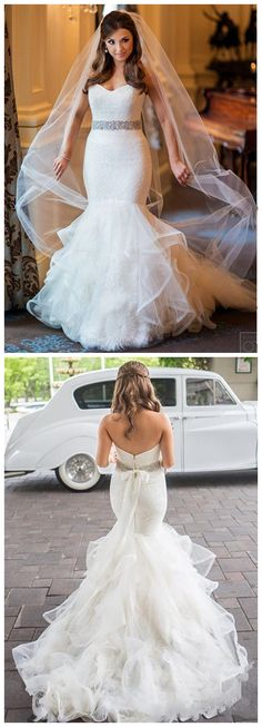 Sparkly Sweetheart Mermaid Wedding Dresses Lace Tulle Beads bridal dresses wedding gowns