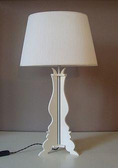 White Table Lamp made with painted wood elements realized in hand-made assembled with brushed  aluminum tube White hand-made shade  Electric wire lamp shades in brown cloth Color: White
