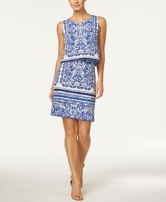 Charter Club Paisley-Print Tiered Dress, Only at Macy's - White XXL