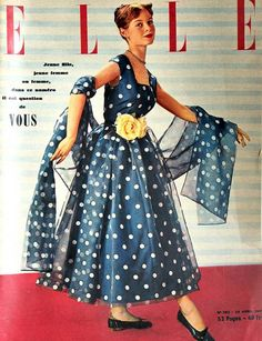 Young Brigitte Bardot wearing a Creation of Carven on the cover of French ELLE,April 1951.