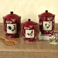 Country Rooster Kitchen Canister Set