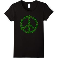 Peace Sign Symbol Wreath of leaves T-Shirt on Black ($19) ❤ liked on Polyvore featuring tops, t-shirts, black top, black t shirt, black tee, peace sign t shirt and peace t shirt
