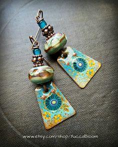 Enameled Copper Earrings Copper Slabs Festive Retro by YuccaBloom