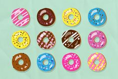 Vector doughnut illustration set by kasha_malasha's designs on Creative Market