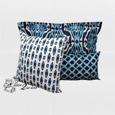Navy and Sky Blue Custom Designer Pillows. Custom monogramming available