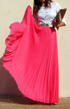 White Button Up Blouse + Gold Mirrored Belt + Pink Pleated Maxi Skirt