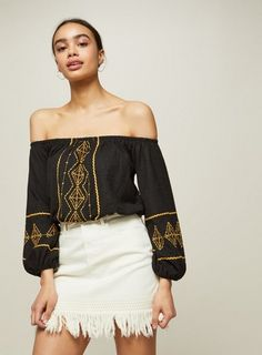 14c5607d3745bf Black and Ochre Embroidered Bardot Top