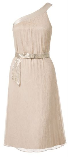 Pure silk asymmetric cocktail dress with hand beaded belt Champagne. $89.00, via Etsy.