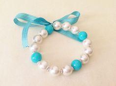 Stretch Blue Pearl Kid Bracelet Little  Flower by nalancavdar, $3.99