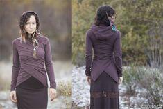 Basic Cropped Wrap - in Brown or Black - throw jacket hoodie. $78.00, via Etsy.