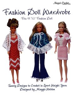 Fashion Doll Wardrobe Pattern Leaflet lets you mix and match twenty different designs to come up with plenty of outfits for your 11-1/2 inch fashion doll. Your little girl will be thrilled to see all the new designs you are going to create. Play time just became more interesting. She will stay busy for hours dressing and changing outfits on her dolls. The stories she comes up with will be priceless to hear and it is all because she has new crochet doll clothing to play with. Designs in the