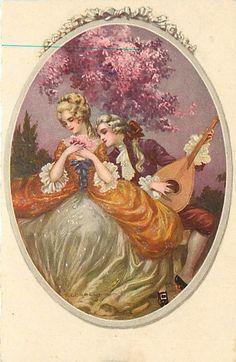 Corbella - Victorian Romance - Man Serenades w/ Guitar Art Deco Postcard Vintage Couples, Romantic Couples, Art And Illustration, Arte Art Deco, Romantic Cards, Guitar Art, Victorian Art, Vintage Artwork, Vintage Children