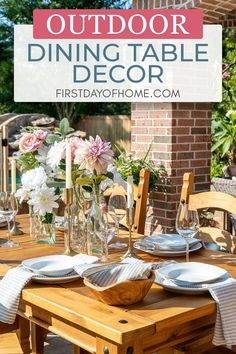 Get ideas for decorating an outdoor table with a simple floral centerpiece, glass bottles, taper candles, and pretty linen napkins. Plus, see how 16 other bloggers decorate their tables for summer! #firstdayofhome #summerdecor #diningtabledecor Bridal Shower Table Decorations, Summer Table Decorations, Bridal Shower Tables, Outdoor Table Decor, Outdoor Dining, Porch Decorating, Decorating Your Home, Decorating Ideas, Home Decor Inspiration