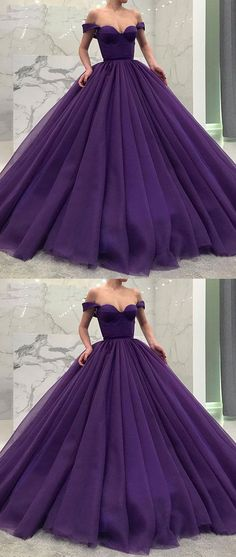 Purple tulle off shoulder long prom gown, tulle evening dress