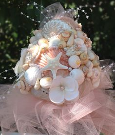 Peach Bouquet Nautical Beach Wedding Seashell By BeachBasketBride 15000