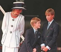 Princess Diana, Prince Harry and Prince William at the commemoration of the end of World War II in 1995.