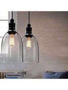 WINSOON Ecopower 1PC Light Vintage Hanging Big Bell Glass Shade Ceiling Lamp Pendent Fixture ❤ WINSOON