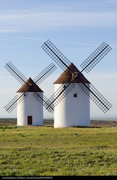 Two windmills front view - stock photo