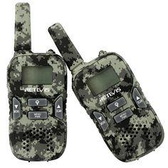 RT33 2 pcs Camouflage Mini Walkie Talkie Kids Two Way Radio 22CH 0.5W PMR446 USB Charging
