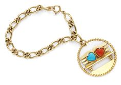Cartier. A Gold Charm Bracelet,  With a Bench Design, Featuring Turquoise & Coral Heart Accents and Star-Set Diamond Highlights. By Cartier.   Available at FD. www.fd-inspired.com