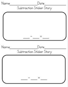 subtraction story worksheet