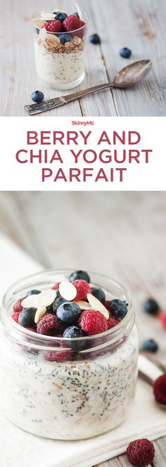 This super scrumptious Berry and Chia Yogurt Parfait is great as a high-protein breakfast, but also makes a handy snack on-the-go.