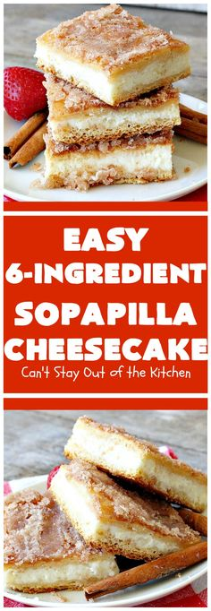 Sopapilla Cheesecake Cant Stay Out of the Kitchen this delicious uses only 6 ingredients Its so easy making it the perfect for company Tiramisu Dessert, Dessert Oreo, Pumpkin Dessert, Pavlova, Köstliche Desserts, Dessert Recipes, Cinnamon Desserts, Bar Recipes, Easter Recipes