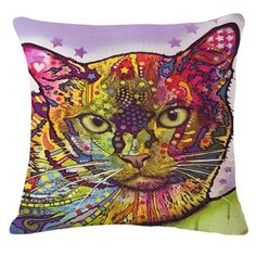 Cartoon Style Decor Cotton Linen Cushion Multicolor Cat Pattern Print Sofa Throw Pillow Home Decor Square Cojines