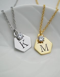 Modern Hexagon initial hand stamped necklace with cubic zirconia drop from EarringsNation initial necklace Wedding Bridesmaid gift keepsake Bridal Bracelet, Bridal Earrings, Bridal Jewelry, Bridesmaid Necklace Gift, Rose Gold Jewelry, Wire Jewelry, Wedding Gifts For Bridesmaids, Hand Stamped Necklace, Letter Necklace