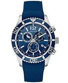 Nautica Men's Chronograph Navy Silicone Strap Watch 43mm N15103G