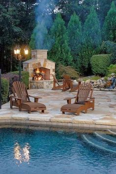 Backyard. Fireplace. Pool. Stone. My house would never be clean, my grass would never be cut, no breakfast, lunch or supper!!!!