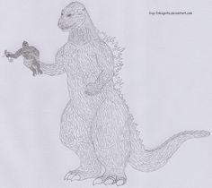 king kong vs godzilla pencil drawing