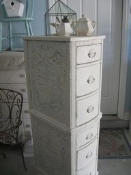 DIY Furniture: A couple of nightstands, now a pretty lingerie chest.love the tin ceiling tiles!Salvaged dressing table drawers were covered with tin ceiling tiles, stacked & painted. - Fox Home DesignStack 2 parts of a dressing table, add tin ceiling Decor, Furniture, Shabby Chic, Redo Furniture, Painted Furniture, Refinishing Furniture, Home Decor, Repurposed Furniture, Furniture Making