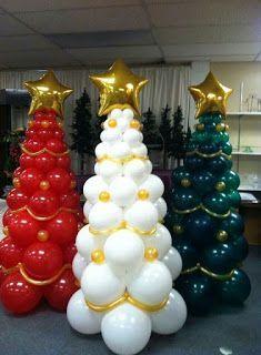 Ballon Weihnachtsdekoration - Art and craft ieads - Deneme 1 Balloon Tree, Balloon Crafts, Balloon Flowers, Balloon Garland, Balloon Decorations, Xmas Decorations, Balloon Ideas, Christmas Balloons, Christmas Themes