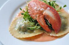 Lobster Ravioli, Pea Shoots, & Smoked Paprika Sauce